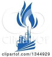 Clipart Of A Silhouetted Blue Natural Gas And Flame Factory 6 Royalty Free Vector Illustration