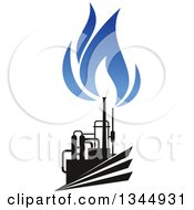 Clipart Of A Black And Blue Natural Gas And Flame Design 23 Royalty Free Vector Illustration