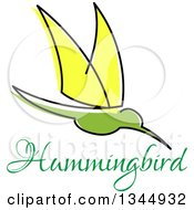 Clipart Of A Sketched Green And Yellow Hummingbird And Text Royalty Free Vector Illustration