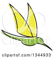 Clipart Of A Sketched Green And Yellow Hummingbird Royalty Free Vector Illustration