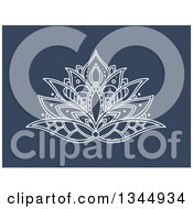 Clipart Of A White Henna Lotus Flower On Blue 7 Royalty Free Vector Illustration