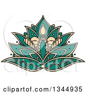 Clipart Of A Beautiful Turquoise And Tan Henna Lotus Flower Royalty Free Vector Illustration