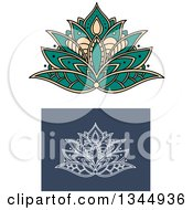 Clipart Of Beautiful Turquoise Tan And White Henna Lotus Flowers Royalty Free Vector Illustration