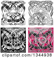 Clipart Of Celtic Knot Crane Or Heron Designs 3 Royalty Free Vector Illustration