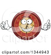 Clipart Of A Cartoon Wall Clock Character Giving A Thumb Up And Holding Up A Finger Royalty Free Vector Illustration by Vector Tradition SM