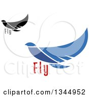 Clipart Of Flying Black And Blue Peace Doves Royalty Free Vector Illustration