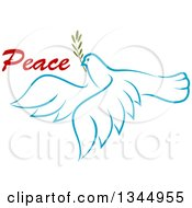 Clipart Of A Sketched Light Blue Flying Peace Dove With A Branch And Text 4 Royalty Free Vector Illustration