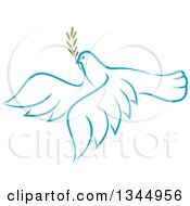 Clipart Of A Sketched Light Blue Flying Peace Dove With A Branch 4 Royalty Free Vector Illustration by Vector Tradition SM