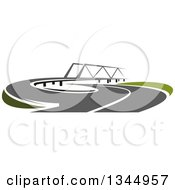 Clipart Of A Curving Two Lane Road Leading To A Bridge 3 Royalty Free Vector Illustration