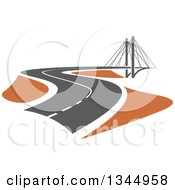 Clipart Of A Curving Two Lane Road Leading To A Bridge 2 Royalty Free Vector Illustration