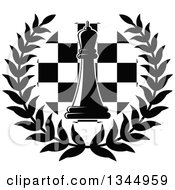 Clipart Of A Black And White Chess Queen Piece Over A Board In A Wreath 2 Royalty Free Vector Illustration