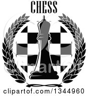 Clipart Of A Black And White Chess Queen Piece Over A Board In A Wreath Under Text Royalty Free Vector Illustration