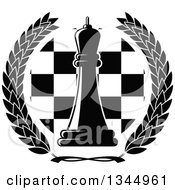 Clipart Of A Black And White Chess Queen Piece Over A Board In A Wreath Royalty Free Vector Illustration