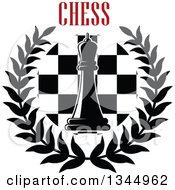 Clipart Of A Black And White Chess Queen Piece Over A Board In A Wreath Under Red Text 2 Royalty Free Vector Illustration