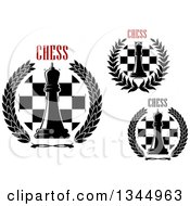 Clipart Of Chess Queen Board And Wreath Designs With Text Royalty Free Vector Illustration