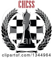 Clipart Of A Black And White Chess Queen Piece Over A Board In A Wreath Under Red Text Royalty Free Vector Illustration