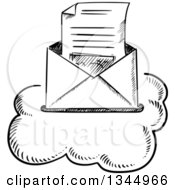 Clipart Of A Black And White Sketched Letter In An Envelope On A Cloud Royalty Free Vector Illustration by Vector Tradition SM