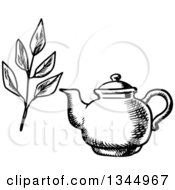 Clipart Of A Black And White Sketched Tea Pot And Leaves Royalty Free Vector Illustration