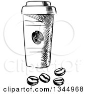 Clipart Of A Black And White Sketched Takeout Coffee Cup And Beans Royalty Free Vector Illustration