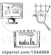 Black And White Sketched Computer Screen And Charts