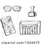 Clipart Of A Black And White Sketched Calculator Stamp Smart Phone And Glasses Royalty Free Vector Illustration