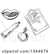 Clipart Of A Black And White Sketched Mouth With Braces Apple Toothpaste Tube And Clipboard Royalty Free Vector Illustration by Vector Tradition SM