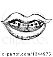 Clipart Of A Black And White Sketched Mouth With Braces Royalty Free Vector Illustration by Vector Tradition SM