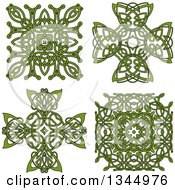 Clipart Of Green Celtic Knot Cross And Square Designs Royalty Free Vector Illustration
