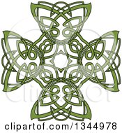 Clipart Of A Green Celtic Knot Cross Design Royalty Free Vector Illustration