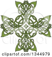 Clipart Of A Green Celtic Knot Cross Design 2 Royalty Free Vector Illustration