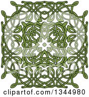 Clipart Of A Green Celtic Knot Square Design 2 Royalty Free Vector Illustration