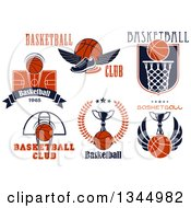 Clipart Of Basketball Sports Designs And Text Royalty Free Vector Illustration
