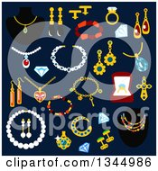 Clipart Of Flat Design Jewelery Items On Navy Blue Royalty Free Vector Illustration