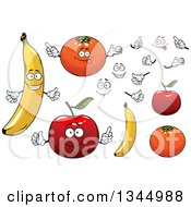 Clipart Of Cartoon Faces Hands Bananas Oranges And Apples Royalty Free Vector Illustration