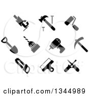 Clipart Of Black And White Hammer Nail Crossed Screwdriver Handsaw Shovel Paint Roller Bench Vice Drill Wide Spatula Hammer Drill And Pickaxe Icons Royalty Free Vector Illustration