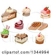 Clipart Of Cartoon Desserts Royalty Free Vector Illustration