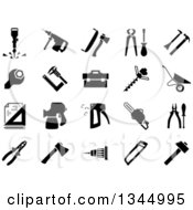 Clipart Of Black And White Hammer Screwdriver Axe Saw Pliers Jackhammer Crowbar Wrench Vernier Caliper Set Square Toolbox Drill Machine Wheelbarrow Drawing Spray Gun Chainsaw And Staple Gun Black Icons Royalty Free Vector Illustration by Vector Tradition SM