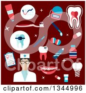 Clipart Of A Flat Design Dentist Or Nurse Avatar With Items On Red Royalty Free Vector Illustration