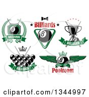 Clipart Of Billiards Pool Eight Ball And Text Designs Royalty Free Vector Illustration