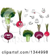 Clipart Of Cartoon Faces Hands Beets Radishes And Broccoil Royalty Free Vector Illustration