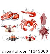 Clipart Of Squid And Seafood Characters Royalty Free Vector Illustration