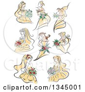 Clipart Of Sketched Brides In Yellow Dresses Royalty Free Vector Illustration