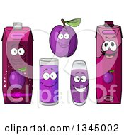 Clipart Of A Cartoon Plum Character And Juice 3 Royalty Free Vector Illustration by Vector Tradition SM