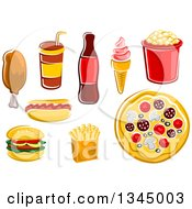 Clipart Of Cartoon Fast Foods Royalty Free Vector Illustration by Vector Tradition SM