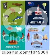 Clipart Of Flat Australia Travel Designs Royalty Free Vector Illustration