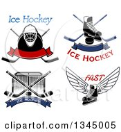 Clipart Of Ice Hockey Sports Designs And Text Royalty Free Vector Illustration