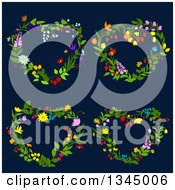 Clipart Of Floral Heart Shaped Wreaths On Dark Blue 2 Royalty Free Vector Illustration