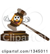 Clipart Of A 3d Wood And Gold Gavel Character Royalty Free Vector Illustration
