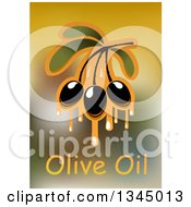 Clipart Of Dripping Olives And Text Over Blur Royalty Free Vector Illustration