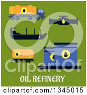 Clipart Of Flat Design Oil Tankers Pump Truck And Tank Designs On Green Royalty Free Vector Illustration
